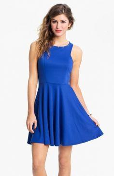 Blue Stud Neck Skater Dress
