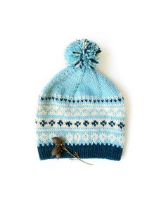 Blue Pom Pom Hat is knitted from quality Norwegian wool and alpaca yarn. This knit hat with traditional Nordic pattern is very soft and warm — perfect for cool fall, winter and spring. The chunky hat will protect you from chilly wind, show or rain. Knitted Hats Kids, Hand Knitted Sweaters, Fair Isle Knitting, Hand Knitting, Beanie Pattern, Pom Pom Hat, Alpaca Wool, Winter Accessories, Narvik