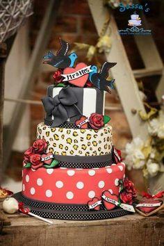 Rockabilly Wedding Cake Leopard Sparrows Stripes Bow Roses - Rockabilly birthday cake