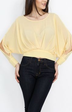 Yellow Pleated Long Sleeve Top With Open Back - #WholesaleTops, #Casual #DayTops, #Boutique #WholesaleBoutique, #Nasty #Sexy, #Spring #SpringWear