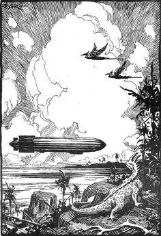 roseonplanetq:  Illustration by Roy G. Krenkel.