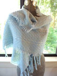 Woven Wool Scarf  Wrap Blue Silver Fringed by BonniesVintageAttic