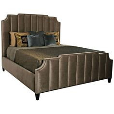Bernhardt Interiors, Bayonne Upholstered Bed, Beds, King, Upholstered, Fabric, Wood, Brown, Mid Century