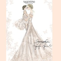 The sweetest #hautecouture sketch of Frida Giannini's wedding gown and that of her daughter. #princess #matrimoniofridaepatrizio