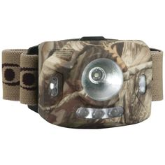 CYCLOPS CYC-RNG1XP-CMO 126-Lumen Ranger CREE(R) XPE Headlamp (Camo). CYCLOPS CYC-RNG1XP-CMO 126-Lumen Ranger CREE(R) XPE Headlamp (Camo) 20 - 126 lumens; 1W clear bulb for center light; 4 modescenter white light only, 3 green LED bottom lights only, 4 red side lights only & strobe on 4 red side lights; Weather-resistant; ABS rubberized housing; 3-layer nylon adjustable cross-strap elastic headband; 5-hour burn time; Includes 3 AAA batteries; Camo