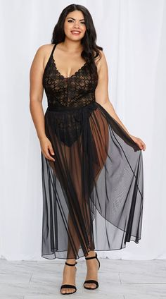 Plus Size Mosaic Lace Teddy and Mesh Skirt, Plus Size Lace Teddy and Mesh Skirt, plus size black teddy
