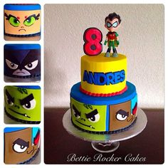 Teen Titans Go Cake for Isaac 6th Birthday Parties, Mom Birthday Gift, Birthday Bash, Girl Birthday, Birthday Ideas, Husband Birthday, Girl Cupcakes, Birthday Cupcakes, Cupcake Cakes
