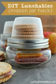 Are you looking for an easy lunch for school or a picnic away from home? Check out these DIY Lunchables using a mason jar hack. You can choose which ingredients to include and they can be adjusted for taste and/or allergies. Yum!
