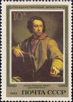 """1983 Sello ruso, pintura de Rembrandt """"retrato de un hombre aprendido"""""""