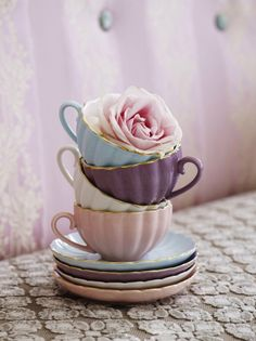 Bombay Duck 'Belle' Teacup & Saucer in Lavender Mist, Shabby Chic Tea Set/Party Tea Cup Saucer, Tea Cups, Image Deco, Party Set, My Cup Of Tea, Fine China, High Tea, Afternoon Tea, Tea Time