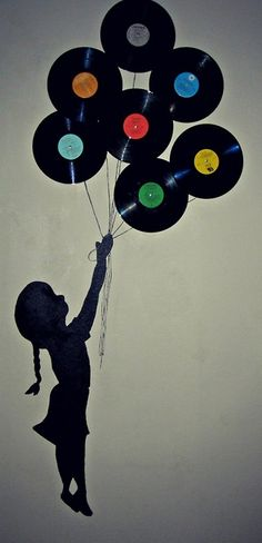Have silhouettes of the boys Inspiration | Pop of Color | Silhouette Painting and Records