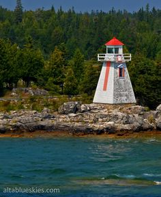 The weather-beaten lighthouse on Manitoulin Island, Ontario. Beacon Lighting, Beacon Of Light, Manitoulin Island, Discover Canada, Old Photos, Ontario, Places Ive Been, Beautiful Places, Coast
