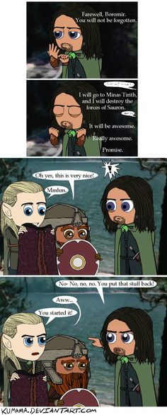 LOTR: Don't Take That Dinghy by Kumama aw, this is really cute. (and sortof sad...poor Boromir...)