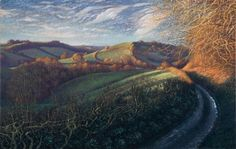 James Lynch The Road (Knights Hill, West Milton) Signed Egg tempera on gesso coated wood panel 17 x x Landscape Art, Landscape Paintings, Landscapes, James Lynch, Dry Brush Painting, Salisbury Cathedral, Paragliding, Tempera, Seascape Paintings