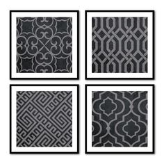 Geometric Prints - Wall Art Quad - Geometric Shapes on Black grunge or light vintage background -  Four 8 x 8 or larger  prints - Room decor...