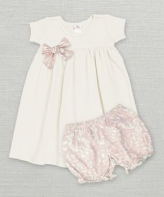 This Truffles Ruffles Ivory Dress & Filigree Rose Bloomer by Truffles Ruffles is perfect! #zulilyfinds