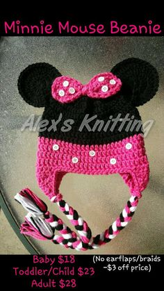 This beanie was inspired by the iconic Minnie Mouse owned by Disney. Like Minnies outfits, this beanie comes in many different colors. This