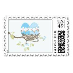 Baby Shower Stamp - Twin Boy Birds