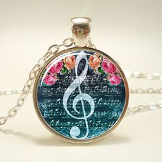 GClef Necklace Music Note Jewelry 1058S1IN by rainnua on Etsy, $14.45