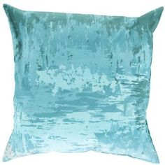 """20"""" Light Blue, Turquoise and Gray Seascape Decorative Throw Pillow"""