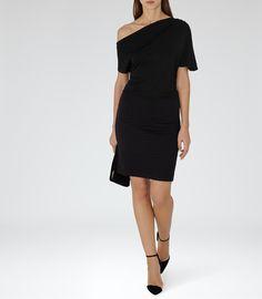 Womens Black Slash-neck Dress - Reiss Freda