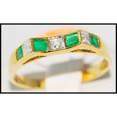 http://rubies.work/0625-multi-gemstone-ring/ Gemstone Diamond Wedding Emerald Ring 18K Yellow Gold by BKGjewels