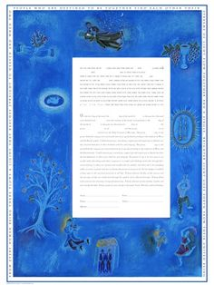 Blue Chagall Ketubah 2 Men. 2 Grooms under the chuppah and embracing, violinist, tree of life, Shabbat candlesticks, kiddish cups with grape clusters and clasped hands around text. Customizable ketubah print from Miriam Karp at www.customketubah.com