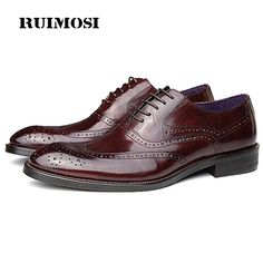 RUIMOSI New Arrival Wing Tip Man Brogue Shoes Genuine Leather Formal Dress  Oxfords Round Toe Wedding 7030407125d8