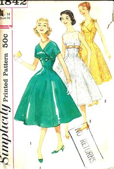 Vintage Sewing Pattern Dress Simplicity 1842
