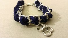 Dark Blue Suede Silver Chain Woven Bracelet with by ManhattanStall