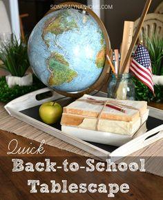 Quick Back-to-School Tablescape - Sondra Lyn at Home Back To School Breakfast, Back To School Party, School Parties, First Day Of School, Middle School, High School, School Centerpieces, School Decorations, Graduation Decorations