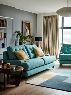G Plan Vintage The Fifty Seven Large 3 Seater Sofa, Sorren Teal at John Lewis & Partners Cream And Gold Living Room, Living Room Green, Living Room Sofa, Living Room Decor, Turquoise Sofa, Teal Sofa, Green Sofa, G Plan Sofa, G Plan Furniture