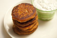 These sweet potato pancakes plus a big Mediterranean salad make a great meal. The dipping sauce is superb!