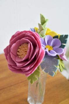 Heirloom Felt Flower Bouquet Sunflower Peony by ThistleandCrown