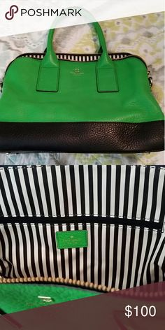 """FLASH SALE!!!! Kate Spade Purse Kate Spade Purse- Green & Navy/ Interior Navy Stripes/ Gold Plated Kate Spade Emblem on Front/ Used- Great Condition! Measures about 14.5"""" Wide! kate spade Bags Totes"""