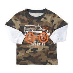 Carters Boys Monster Truck Camo Layered Shirt. @Lorrie Jones Stenson Little Man, Dean, Boy Or Girl, Camo, Kids Outfits, Monster Trucks, Silhouette, Future, Shorts