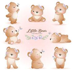 Bicycle Illustration, Cute Illustration, Watercolor Illustration, Watercolor Flower Background, Floral Watercolor, Doodles Bonitos, Doodle Bear, Panda Lindo, Cute Bear Drawings