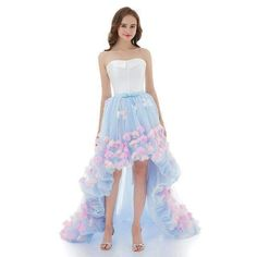 063209701f4 SSYFashion Sexy Strapless Short Front Long Back Flower Evening Dress Bride Prom  Formal Party Gown