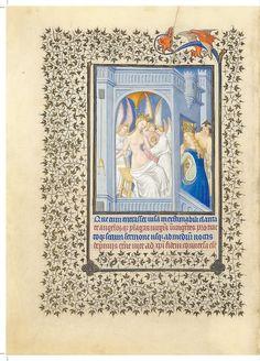 St Katherine Cycle: Katherine Tended by Angels.  Belles Heures of Jean de France, duc de Berry, 1405–1408/9.