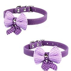 1Pc Lordly Popular Pet Bow Collar Sweet Polka Dot Adjustable Puppy Neck Strap Color Purple *** Check this awesome product by going to the link at the image.