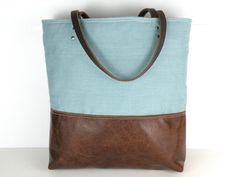 Urban Tote in Seafoam Blue Linen and distressed by RedStaggerwing, $107.00