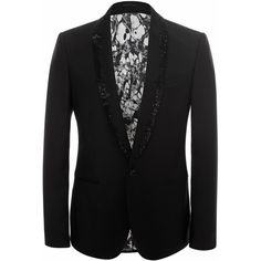 Alexander McQueen Embellished Shawl Collar Tuxedo Jacket ($1,374) ❤ liked on Polyvore featuring men's fashion, men's clothing, men's suits and black
