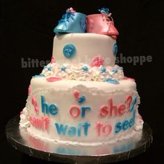 He or She? Can't wait to see! Baby Cake - Bittersweet Bake Shoppe - Tyngsboro, Massachusetts 01879