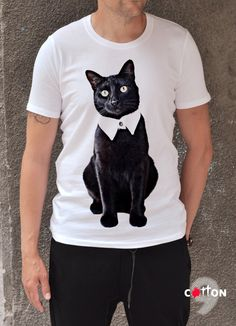 Black Cat T-shirt / Animal Tshirt / Plus size Maxi by Cotton9