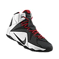 I designed the black Nike LeBron 12 iD men's basketball shoe with university red and white trim.