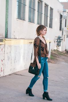 Free People Fiona Top and Citizens of Humanity Rocket Skinny Jeans Distressed