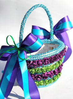 Hey, I found this really awesome Etsy listing at http://www.etsy.com/listing/130469673/purple-flower-girl-basket-peacock
