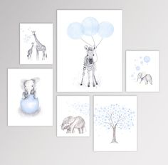 Baby Boy Nursery Art, Watercolor Animal Prints, Set of Six Canvases, Nursery Art Groupings - Nursery Canvas Art, Baby Nursery Art, Baby Boy Room Decor, Nursery Paintings, Elephant Nursery, Baby Art, Baby Boy Rooms, Animal Nursery, Baby Boy Nurseries