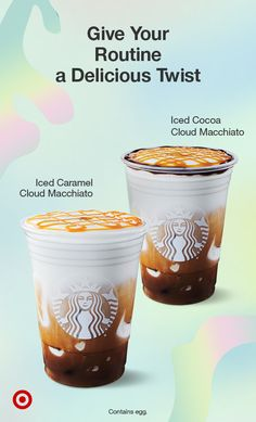 Your favorite spring beverages are back! Treat yourself to Starbucks Cloud Macchiatos. Contains egg. Secret Starbucks Drinks, Starbucks Secret Menu, Starbucks Recipes, Starbucks Caramel, Starbucks Frappuccino, Starbucks Coffee, Starbucks Breakfast, Restaurant Gift Cards, Mugs