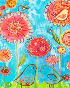 Birds & Poppies Canvas